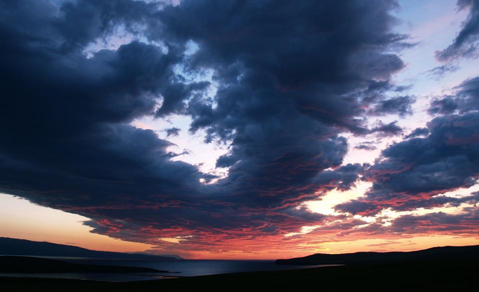 ...  там! Байкал, Ольхон, небо, восход, облака