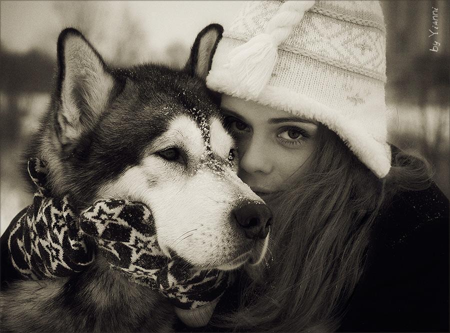 Лучший друг (верность) девушка собака чувства любовь преданность