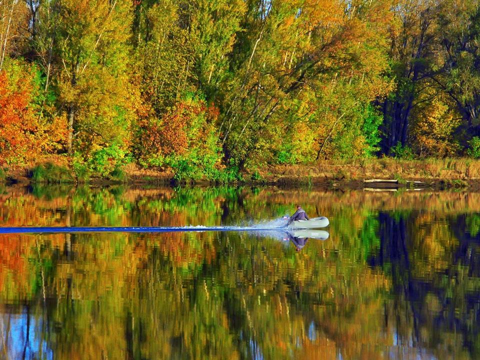 за уловом осень, отражение, рыбалка, река
