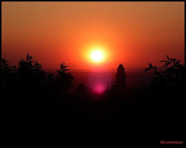 Осенний закат закат с горы Монт Руаяль