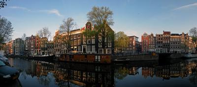 Утренний Амстердам (панорама) утро, канал, отражение, панорама, Амстердам, Голландия, Нидерладны