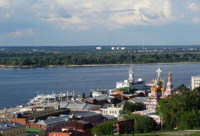 Вид на Волгу и крыши ул. Рождественская г. Нижний Новгород Нижний Новгород город Волга