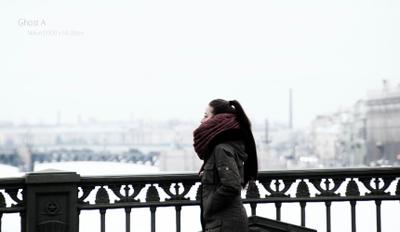 *** девушка зима мост Санкт_Петербург Нева Россия