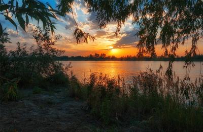 закат над озером VII озеро голубое Днепр Украина закат облака отражение песок камыши вода лучи