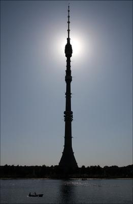 Останкино Останкино, башня, пруд, лодка, небо, солнце