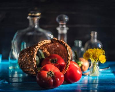 *** натюрморт лето овощи синий красный