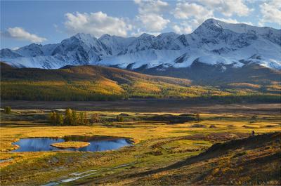 Вечерний фотопленэр Алтай Ештыкёль Джангысколь озеро осень отражение горы Северо-Чуйский хребет
