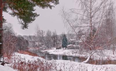 Тихая печаль... Зима природа река деревня снег лес февраль