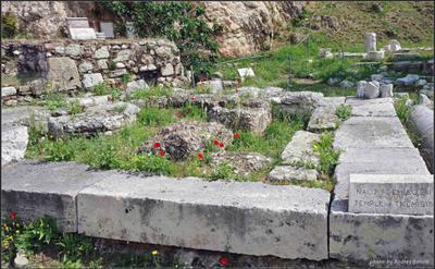 Среди древних камней Греция Афины камни блоки цветы трава