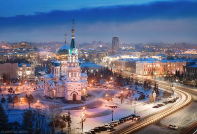 Омск Омск город архитектура провинция Россия туман закат регион рассвет церковь храм православие выдержка зима мороз снег религия