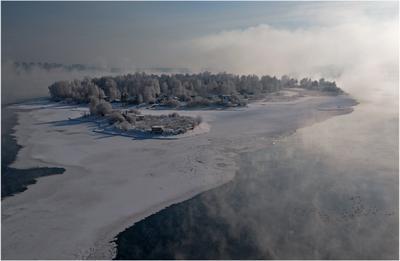 *** зима река мороз туман
