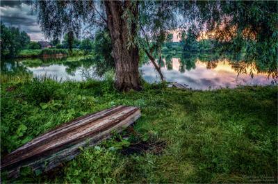 У вечернего озера.