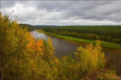 Октябрь уж наступил река, осень, лес, пейзаж