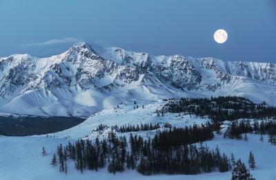 Рассвет и полная луна