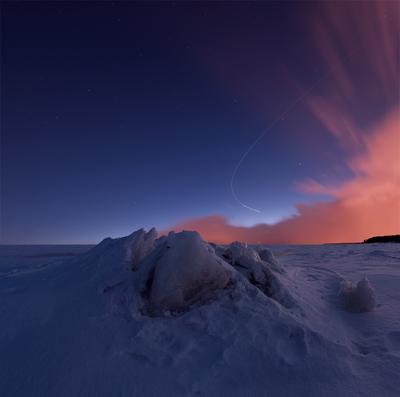 *** торосы ночь Финский залив длинная выдержка