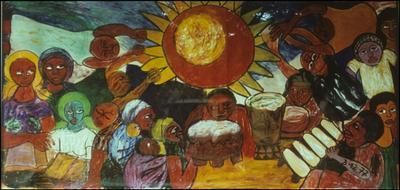 полотно мозамбикского художника Валенте Малангатана, выставленное в Музее Искусств Мапуту