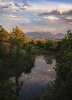 На заводи Аэропортовского озера тишь да благодать. пейзаж природа озеро зелень лето деревья вечер вода горы небо облака