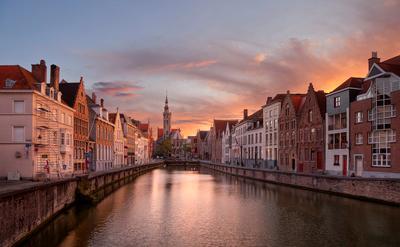 in Bruges Брюгге Бельгия Brugge Belgium Jan van Eyckplein Spinolarei canal EGRA ЕГРА