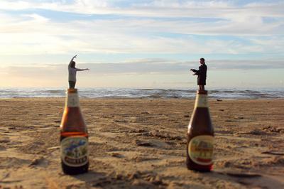 Джин из пива пиво джин залив пляж осень