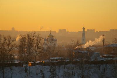 Зимний закат. зима, закат, храм