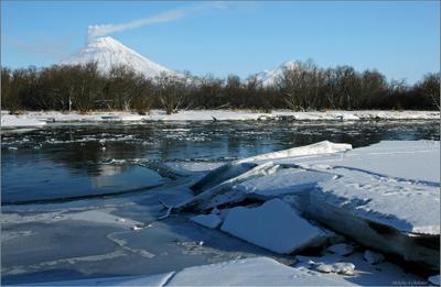 Ледостав Камчатка, река Авача, ледостав, шуга, вулкан Корякский, активизация, выброс