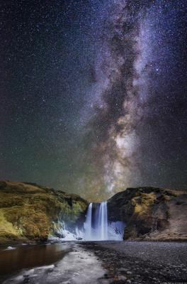***Skogafoss at night*** iceland waterfall night Skogafoss stars