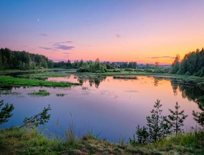 Зеркало заката лето закат река лес отражения