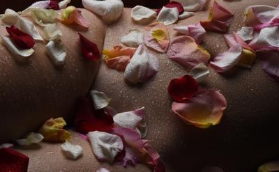 Лепестки роз на бёдрах НЮ Нагота