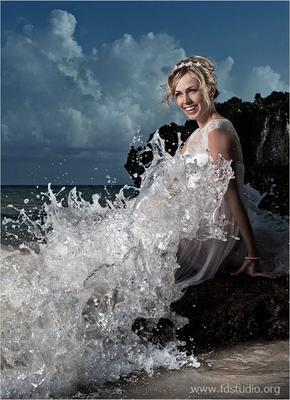 Морская невеста, море, океан, берег, скала, волна, вечер, доминикана fdstudio