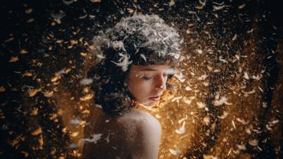 Home angel девушка модель прическа перья пух свет лучи взгляд изгиб темнота тишина Россия