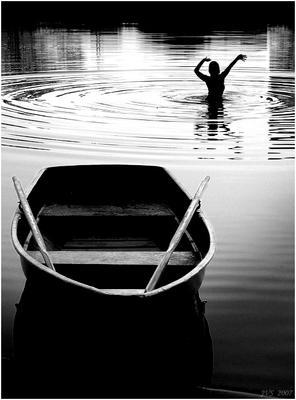 В ритме лета лодка, силуэт, лето, купаться