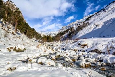 Зимние прогулки по реке Терскол Приэльбрусье река Терскол зима