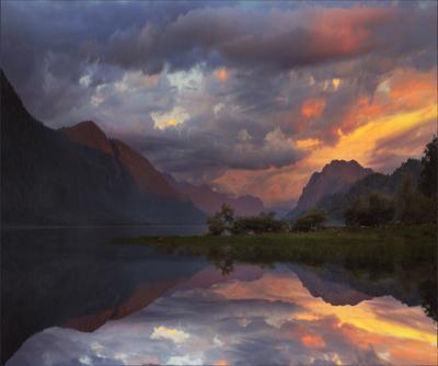 Картина маслом на закате озеро Телецкое