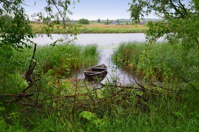 у реки река лодка утро