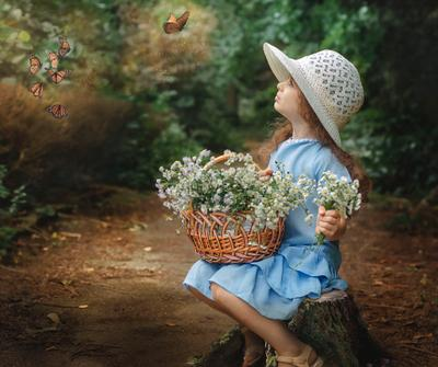 прогулка в лесу цветы бабочки девочка