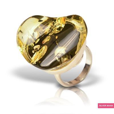 Кольцо с янтарем кольцо, янтарь, серебро