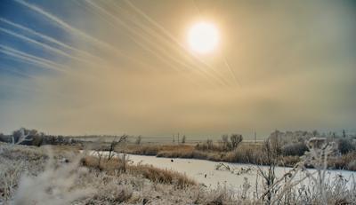 Холодный февраль зима иней степь
