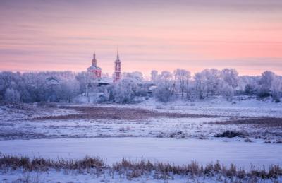 Морозный Суздаль утро зима суздаль пейзаж