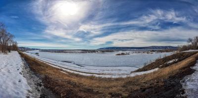кривая панорама на Волгу панорама Волга ширик весна