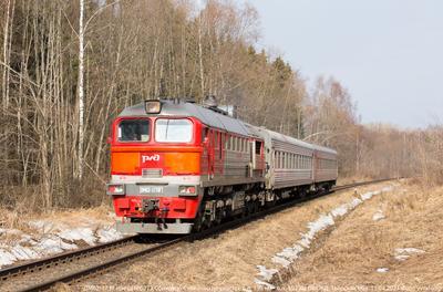 ДМ62-1738 тепловоз ДМ62 пригородный пассажирский поезд