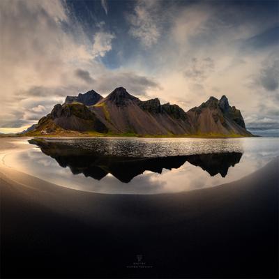 Темное отражение Исландия пейзаж природа отражение пляж берег
