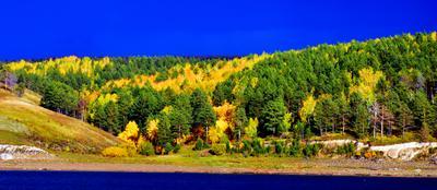 после дождя Ангара берег осень лес