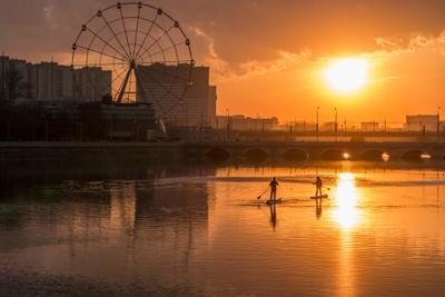 *** пейзаж закат река город челябинск