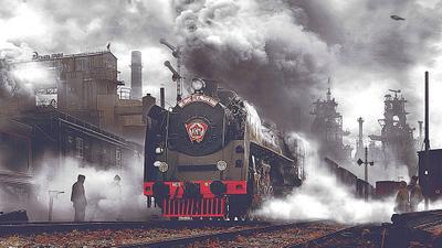 КИМ Паровоз серии ФД домны промышленность станция семафор