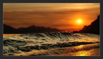 Белое солнце... Орджо, Коктебель, Закат, Море