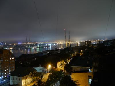 Ночной Владивосток Приморский край бухта Золотой рог мост ночной пейзаж Владивосток город
