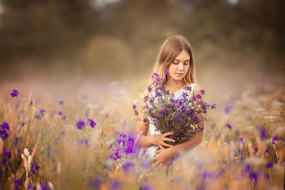 *** девушка цветы поле