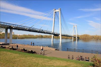 Мост на остров Красноярск вантовый мост остров Татышева
