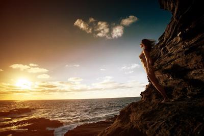 Wings model rocks coastline hawaii sunrise