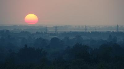 Закат над городом закат солнце